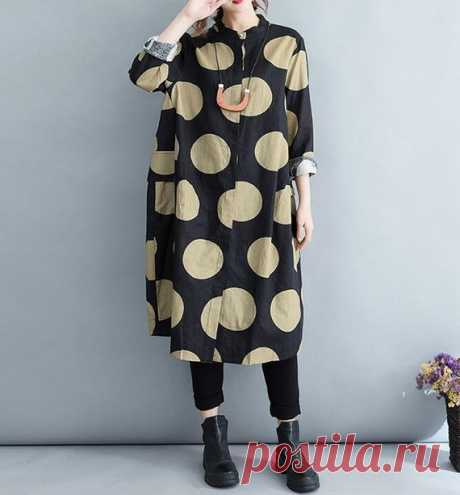 Women Dot linen maxi dress, black maxi dress linen, Loose Fitting Long  gown, Linen Stand collar shirt dress 【Fabric】  Linen 【Color】 black 【Size】 Shoulder width 42cm / 16  Sleeve Length 53cm / 21 Cuffs around 25cm / 10 Bust 118cm / 46 Waist 142cm / 55 Clothing length 104cm / 41  Hem circumference 148cm / 58   Have any questions please contact me and I will be happy to help you.