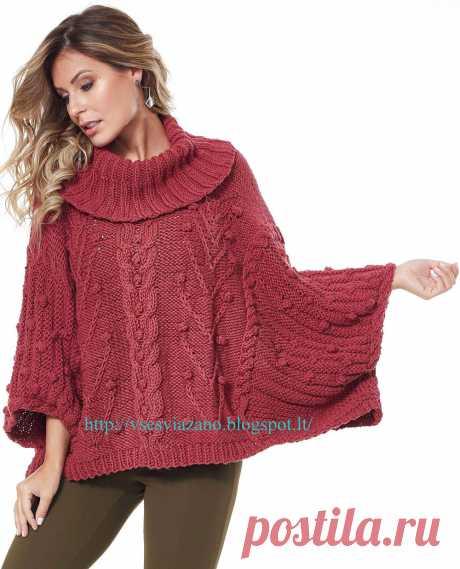 Уютный свитер-пончо с аранами. Спицами. / ВСЕ СВЯЗАНО. ROSOMAHA.