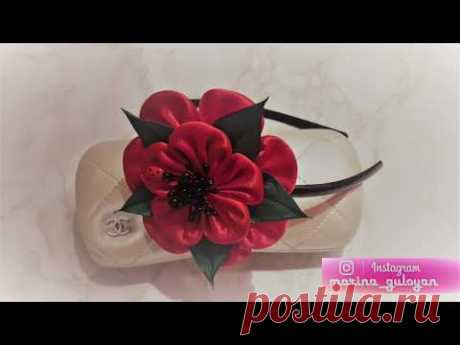 Kanzasha rim poppies from MK fabric for beginners ✔ Marine DIY Guloyan ✔
