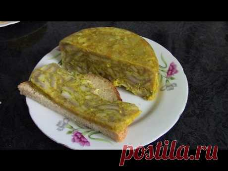 Закуска из свиных шкурок ./Свиная шкурка рецепт ./Прессованные свиные шкурки рецепт .