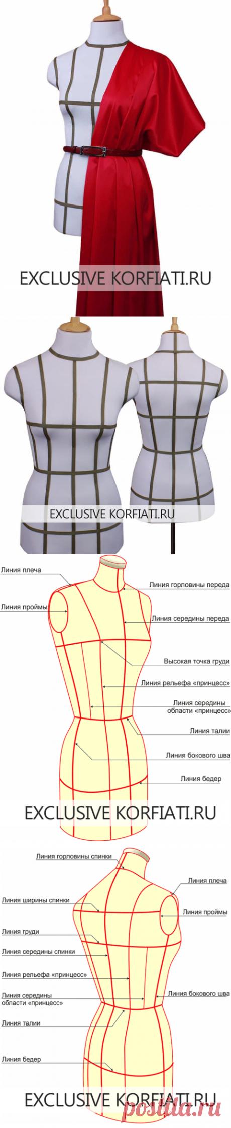 Как нанести на манекен базовую сетку - мастер-класс Анастасии Корфиати