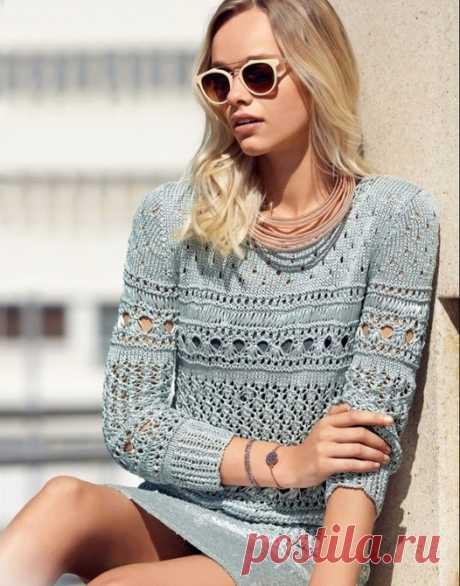 Серый ажурный пуловер спицами. Пуловер спицами своими руками |