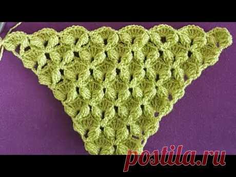 Üçgen Kabartmalı Fiyonk Şal / Crochet Triangle 3D  Shawl