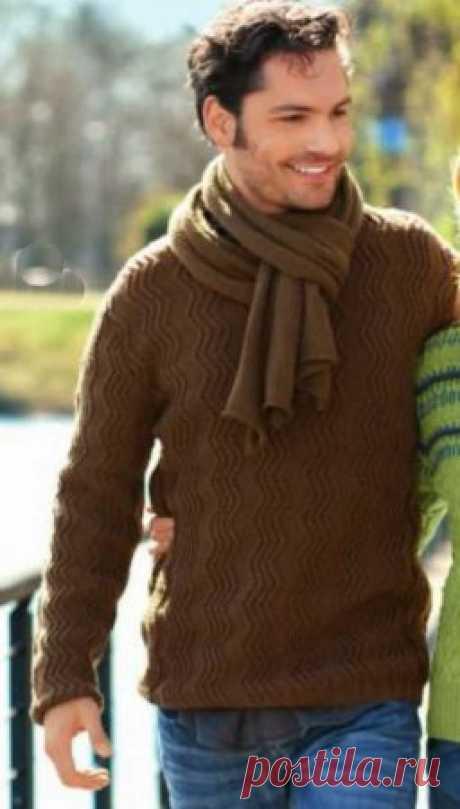 Мужской пуловер и шарф   Табачно-коричневый пуловер с зигзагами и связанный лицевой гладью шарф из мериносовой шерсти гарантируют полный комфорт.Размеры: 48/50 (54/56) Вам потребуется: 650 (750) г коричневой пряжи Extra Merino (100% мериносовой шерсти, 130 м/50 г); прямые спицы № 3 и № 3,5; круговые спицы № 3.