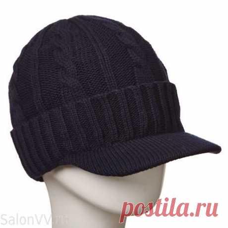 Вязаная кепка-шапка с козырьком зимняя синяя мужская интернет-магазин купить.