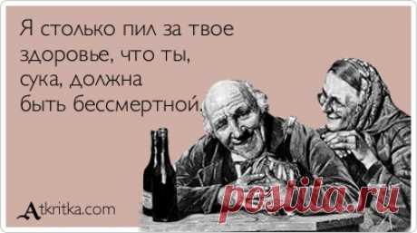Я столько пил за твое здоровье, что ты, сука, должна быть бессмертной. / открытка №92144 - Аткрытка / atkritka.com
