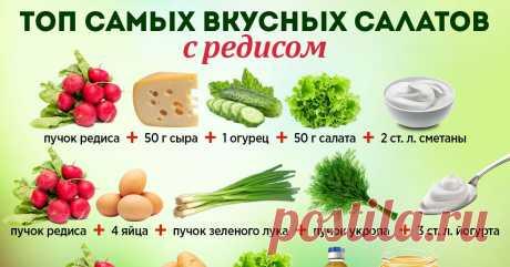 Салат с редисом и огурцом и подборка весенних салатов с редисом.