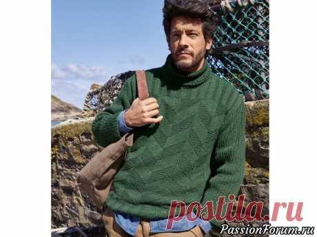 Зеленый мужской свитер с воротником гольф | Вязание для мужчин спицами. Схемы вязания Мягкая кашемировая шерсть, идеальные пропорции и зигзагообразный структурный узор превратят пуловер благородного зеленого оттенка в любимую вещь.РАЗМЕРЫ50/52ВАМ ПОТРЕБУЕТСЯПряжа (50% кашемира, 50% овечьей шерсти; 110 м/50 г) — 600 г зелено-коричневой меланжевой; спицы №5 и 5,5;...