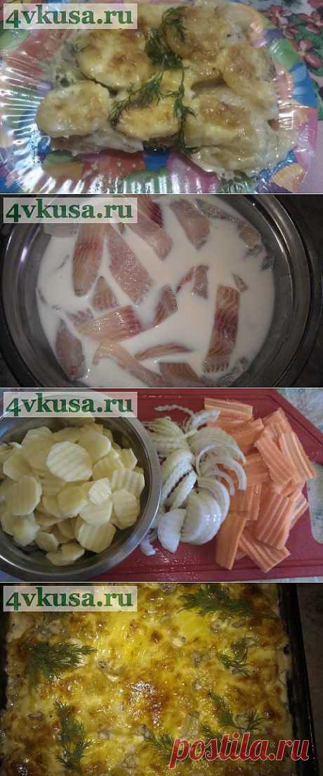 """El pez cocido """"По-Карельски"""" (la variación con tilapiey)   4vkusa.ru"""