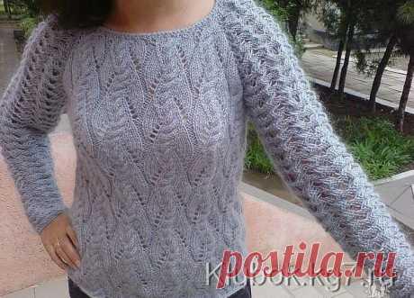 Мохеровый пуловер с ажурными рукавами. | Клубок