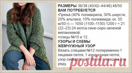 Длинные кардиганы из меланжевой пряжи - вязание спицами - модели плюс схемы - не пропустите   МНЕ ИНТЕРЕСНО   Яндекс Дзен