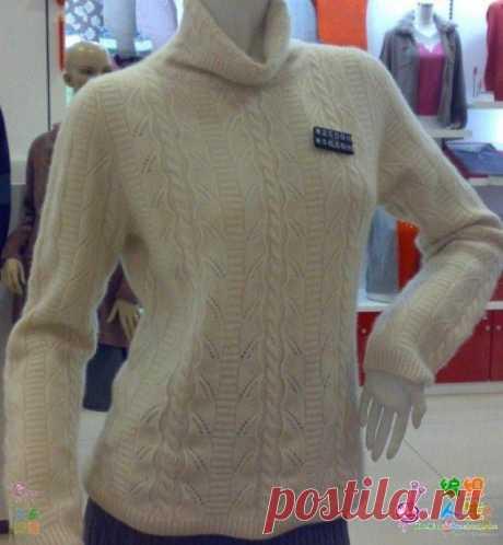 Узор спицами, отличная идея для свитера