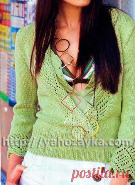 Пуловер с ажурной каймой - схема вязания + фото и описание Схема вязания спицами пуловера с ажурной каймой - вязание для домохозяек.