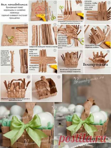 Плетеная пасхальная корзина своими руками