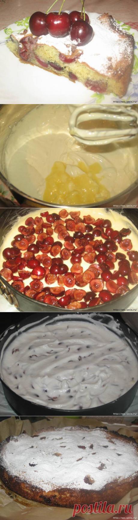 Лёгкий пирог с черешней