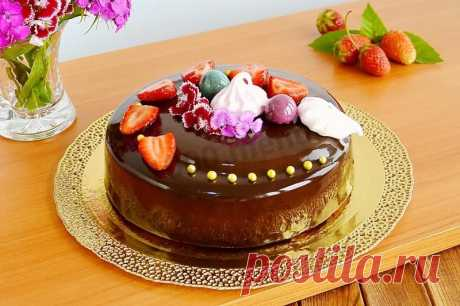 Муссовый торт с зеркальной глазурью и вафельными коржами рецепт с фото пошагово - 1000.menu