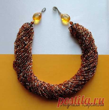 Купить Жгут колье Золотая карамель - золотая карамель, бисерное колье, украшение на шею колье