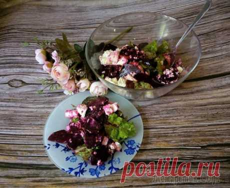Салат из запеченной свеклы с сыром фета Предлагаю приготовить простой, легкий и полезный салат из печеной свеклы и сыра Фета. В этот салат добавила листья свежей мяты , получилось удачное сочетание. смесь салатных листьев - 150 гсыр фета - ...