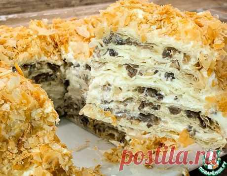 """Закусочный торт """"Грибной наполеон"""" – кулинарный рецепт"""
