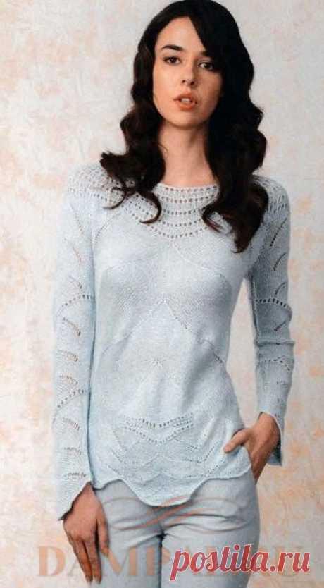 Вязаный пуловер «Frost Flower»   DAMские PALьчики. ru