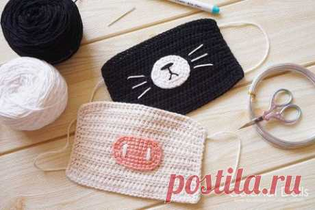 Декоративная маска для лица, связанная крючком. Работа Alise Crochet