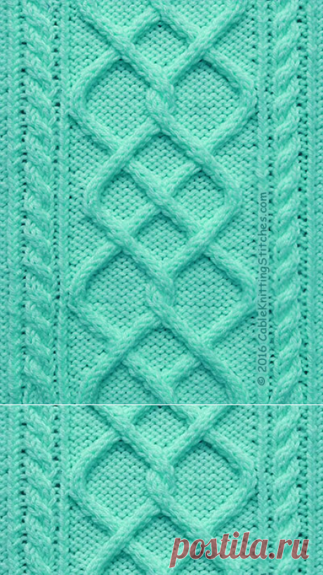 Cable Pattern 3: Argyle Diamonds and 2/2RC, 2/2LC | Cable Knitting Stitches