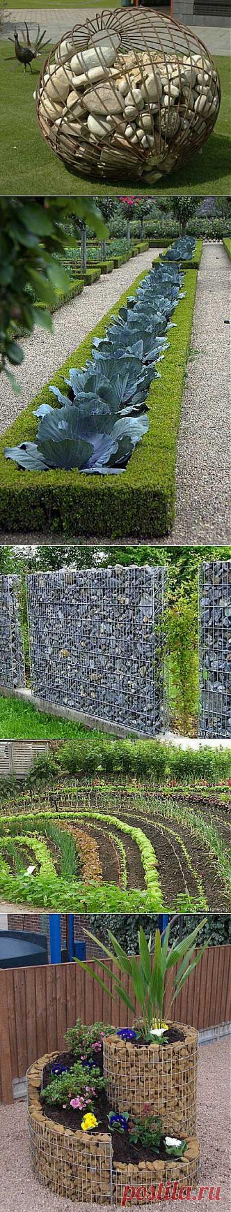 Дачное: камни, газоны, грядки.