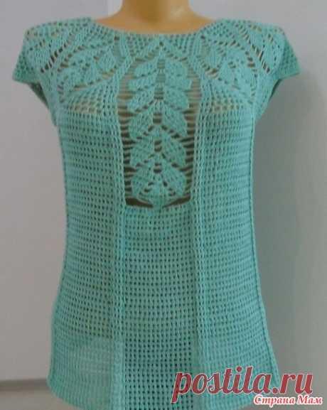 """Летняя кофточка"""" Листья"""",вязание крючком,crochet blouse"""