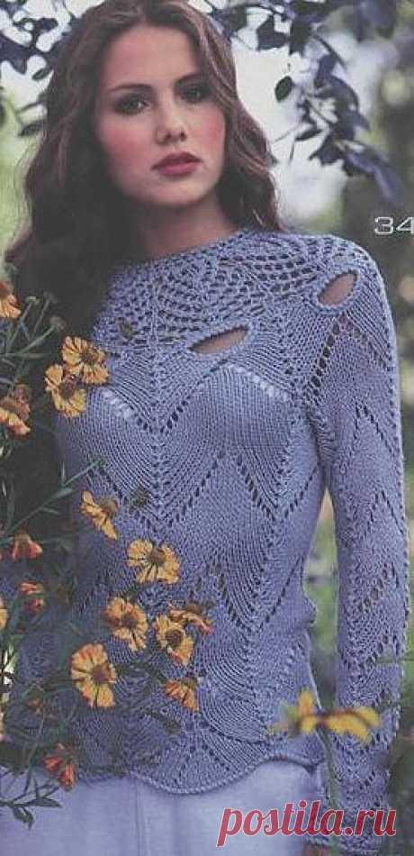Ажурный пуловер на кокетке..