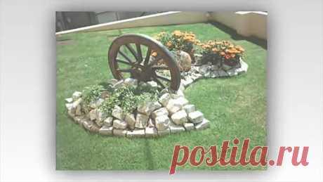Как украсить двор ЦВЕТАМИ используя коряги, камни и старый колодец