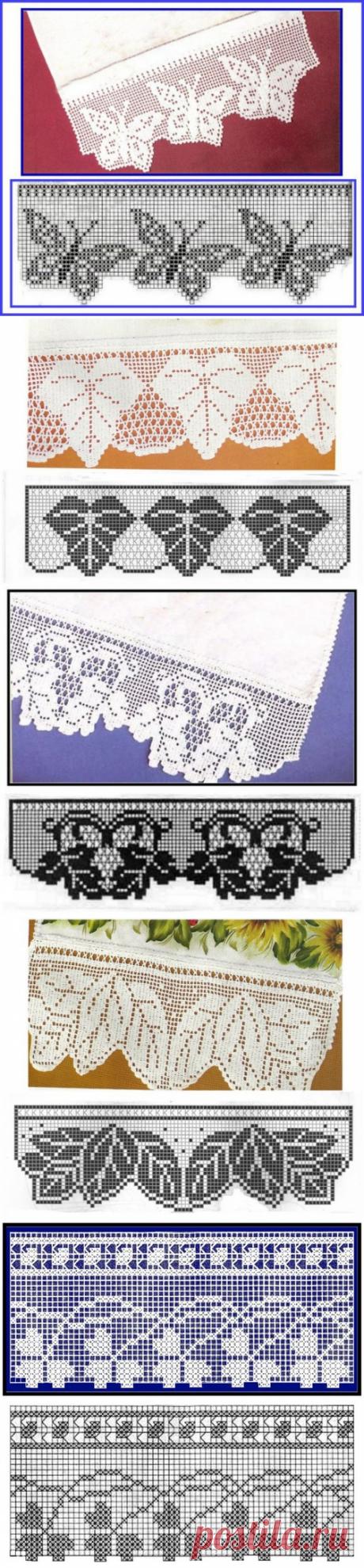 Кайма крючком. Филейное вязание. Очень красиво + схемы | razpetelka.ru