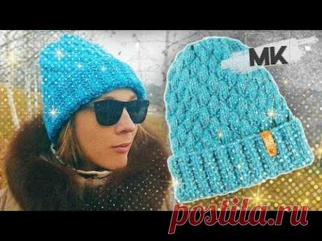 ЯРКАЯ ШАПКА С ПАЕТКАМИ / Подробный МК по вязанию стильной зимней шапки спицами