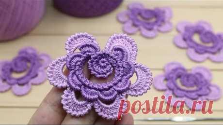 ЦВЕТОК крючком МАСТЕР-КЛАСС по вязанию мотивов для ирландского кружева crochet flower motifs