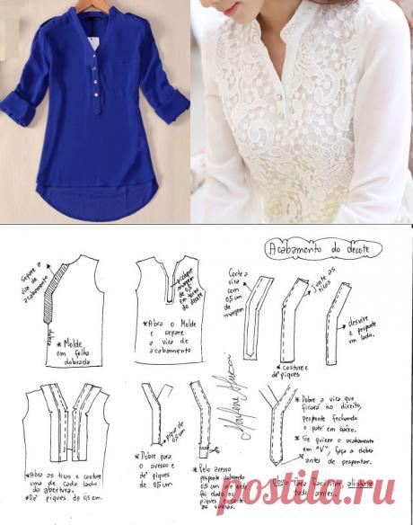 Блуза с интересным воротником. Выкройки всех размеров.