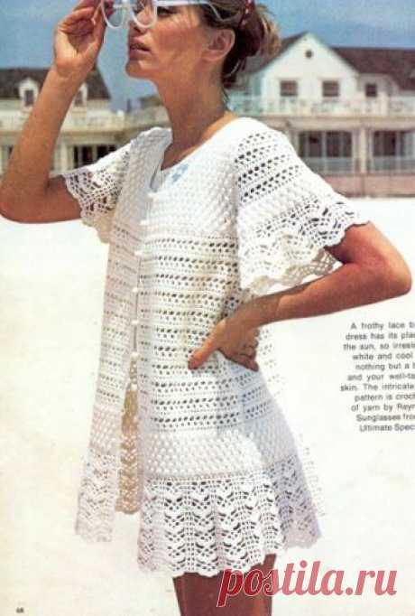 Ажурные платья крючком «пляжный халатик» – 2 модели со схемами и описанием