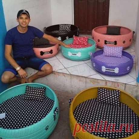 Бразилец подбирает старые грязные шины и делает из них уютные лежанки для домашних животных | Краше Всех