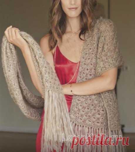 Узорчатый широкий шарф с бахромой схема спицами » Люблю Вязать