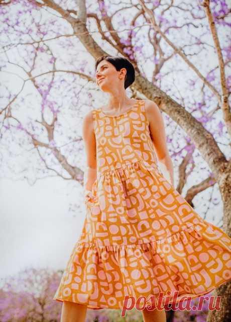 Платье-сарафан с двумя ярусами. #Готовые_выкройки на размеры AL Обхват груди 31–53 дюйма (79–134 см).