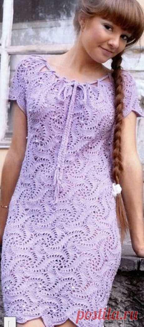 Lilac dress (knitting by a hook)