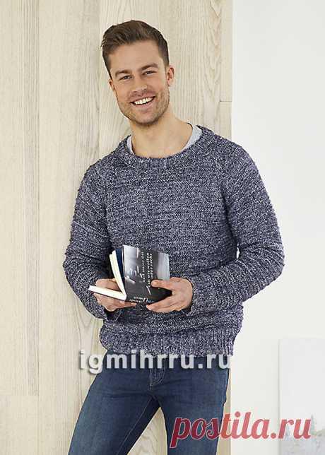 Мужской меланжевый пуловер с простым рельефным узором. Вязание спицами