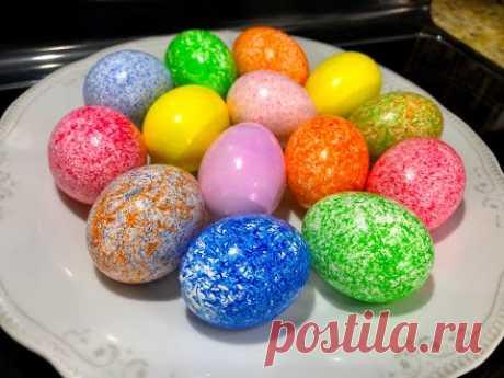 Сказочно Красивые ПАСХАЛЬНЫЕ ЯЙЦА , красим за 1 минуту 3 яйца