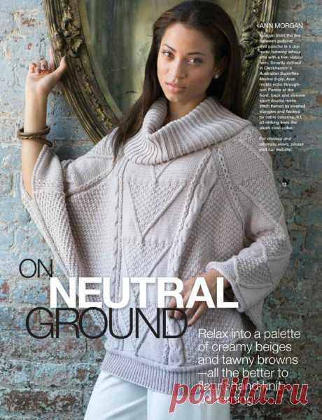 Пуловер-пончо с рукавами летучая мышь из VOGUE knitting (спицы)
