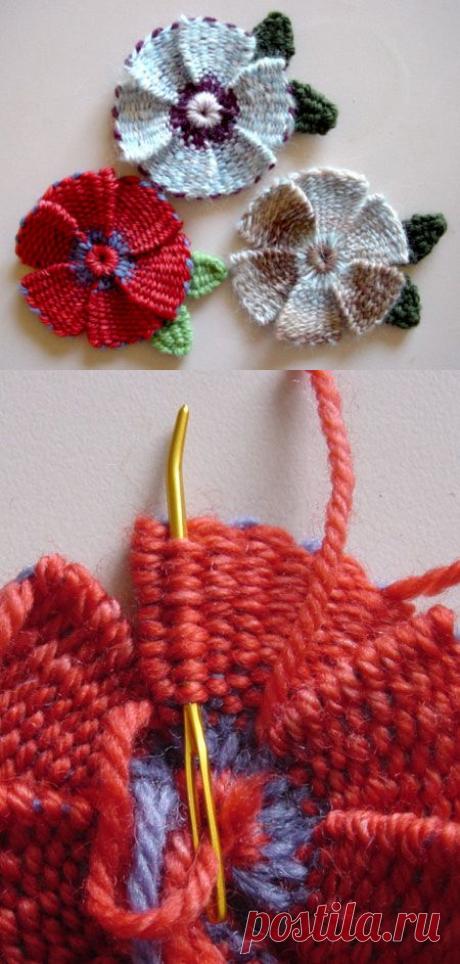 Плетеные цветы с лепестками и листьями »Knitting-and.com