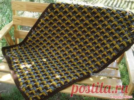 Простой и красивый узор для пледа, коврика из остатков пряжи - Вязание - Страна Мам