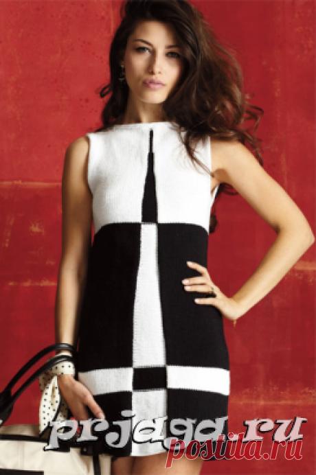 Черно белое платье спицами