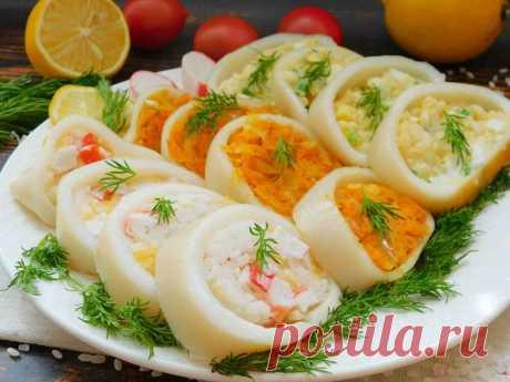 Фаршированные кальмары - 3 начинки   Рецепты салатов и вкусняшек   Яндекс Дзен