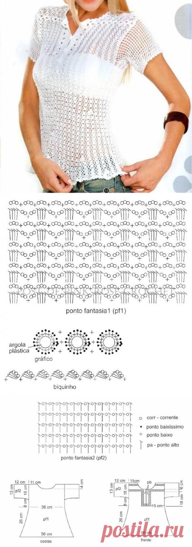 Белая блуза или рубашка-поло крючком – схемы вязания — Пошивчик одежды