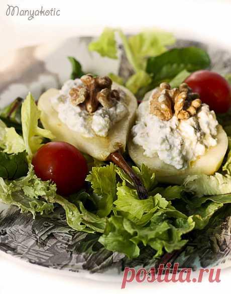 Груши с голубым сыром и грецкими орехами