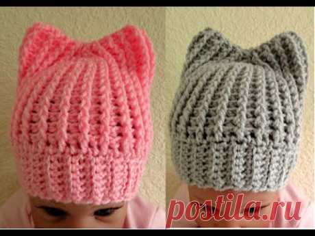 Easy crochet Baby hat with ears tutorial 0-3 months up to 5 months with subtitles Happy Crochet Club