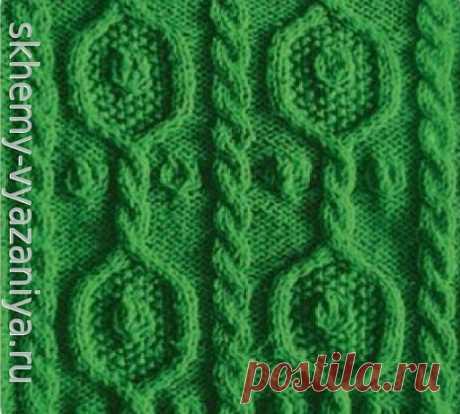 Узор из жгутов и шишечек - схема вязания узора спицами